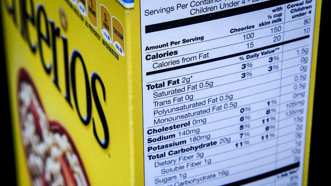 This Jan. 24, 2014 file photo shows the nutrition facts label on the side of a cereal box.