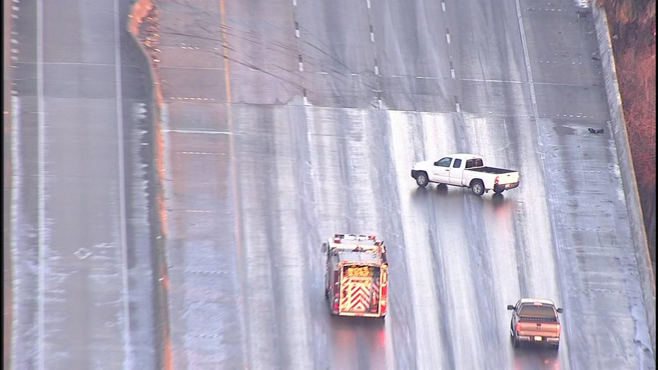 Icy conditions on Houston area freeways, Wednesday, January 17, 2018.