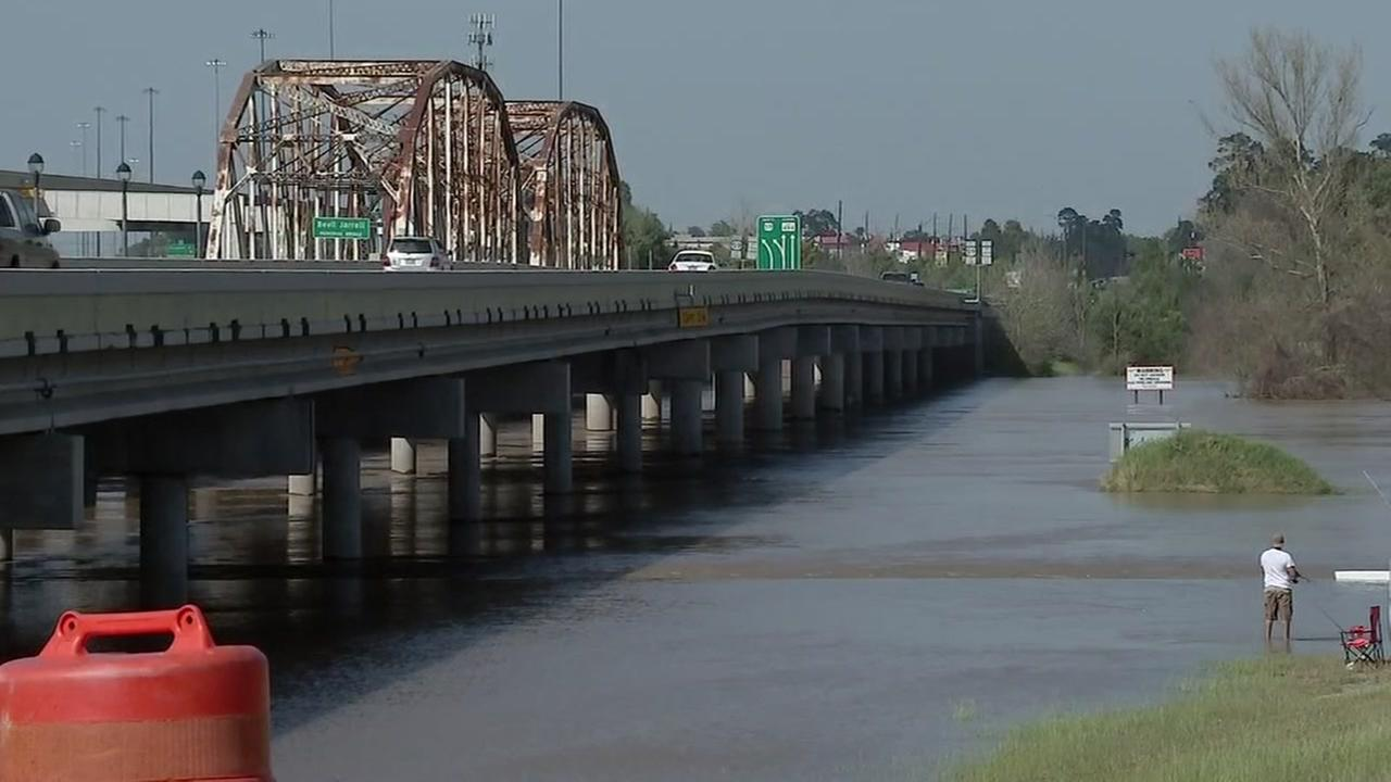 Damage from Hurricane Harvey forces repair work for the San Jacinto River Bridge.