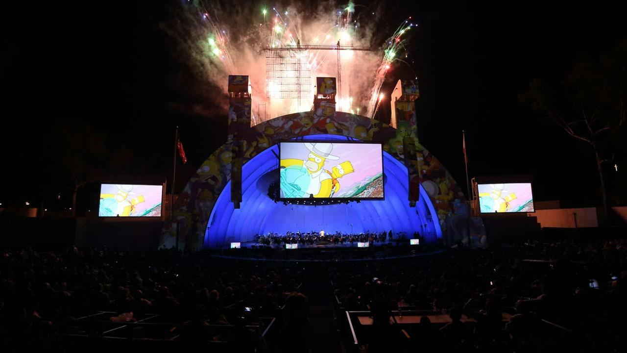 In this handout photo released by the Hollywood Bowl, the cast of The Simpsons performs at the Simpsons Take The Bowl, which took place at the Hollywood Bowl in Hollywood, CA.