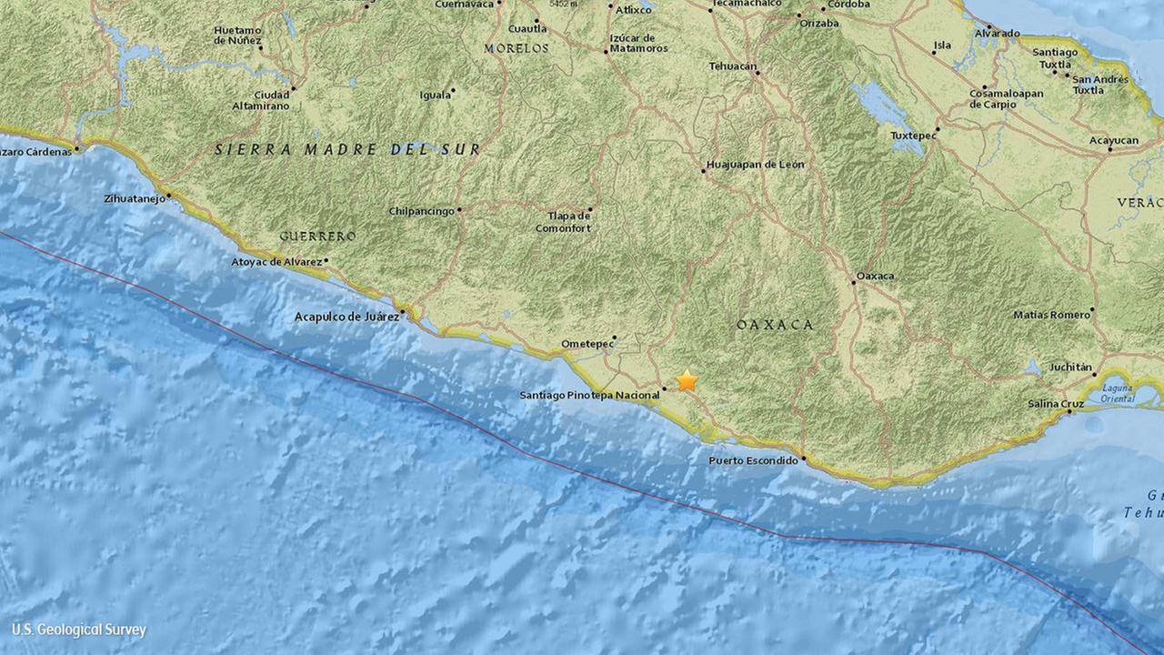The 7.5-magnitude earthquake was measured along the Pacific Coast of south-central Mexico.