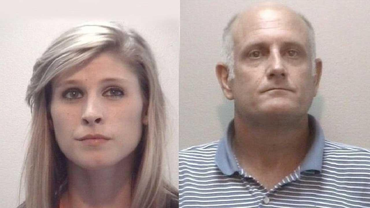 Brittany Nicole Castille, 18, of Pasadena (left) and Pearland resident Donald Wayne Cunningham, 48, (right) were arrested outside a Webster hotel on felony drug-related charge