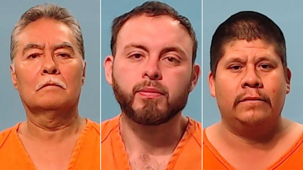 Herminio Leija (left), Jesus Carlos Rueda (center),  and Ramirro Rivera (right) who were all charged with state jail felony cock fighting.
