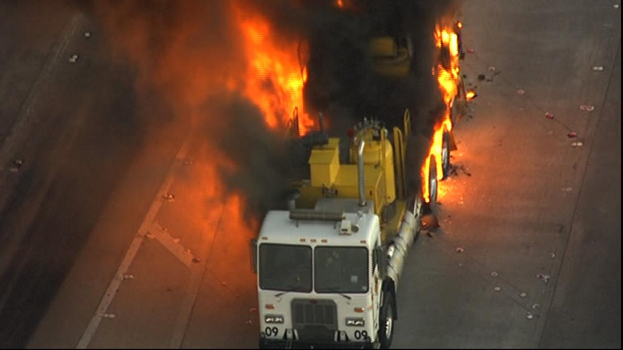 big truck on fire