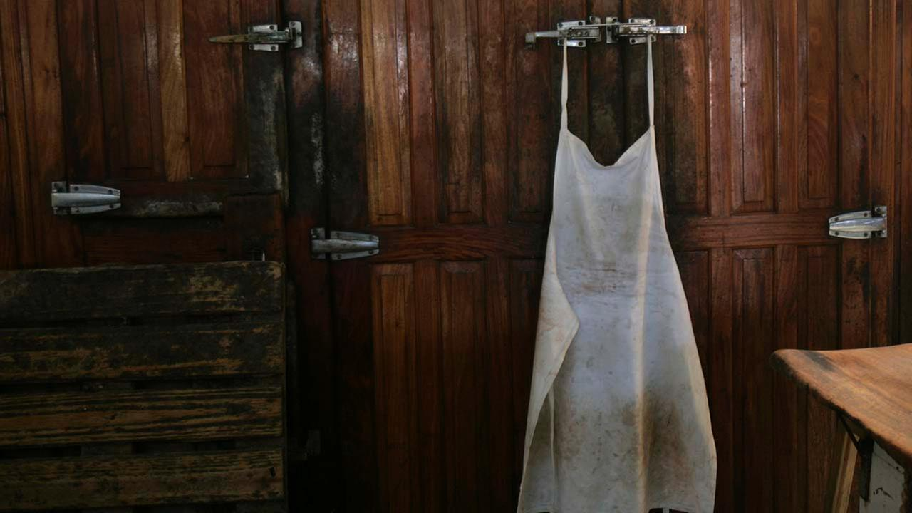 A butchers apron hangs from a fridge in Buenos Aires, Saturday, March 29, 2008