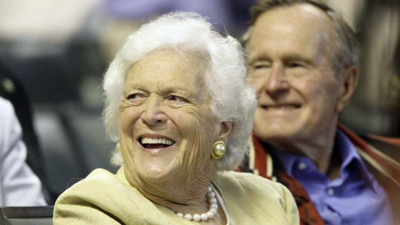 Former First Lady Barbara Bush smiles during a light moment Thursday, Oct. 19, 2000, at the Fox Chase Cancer Center in Philadelphia