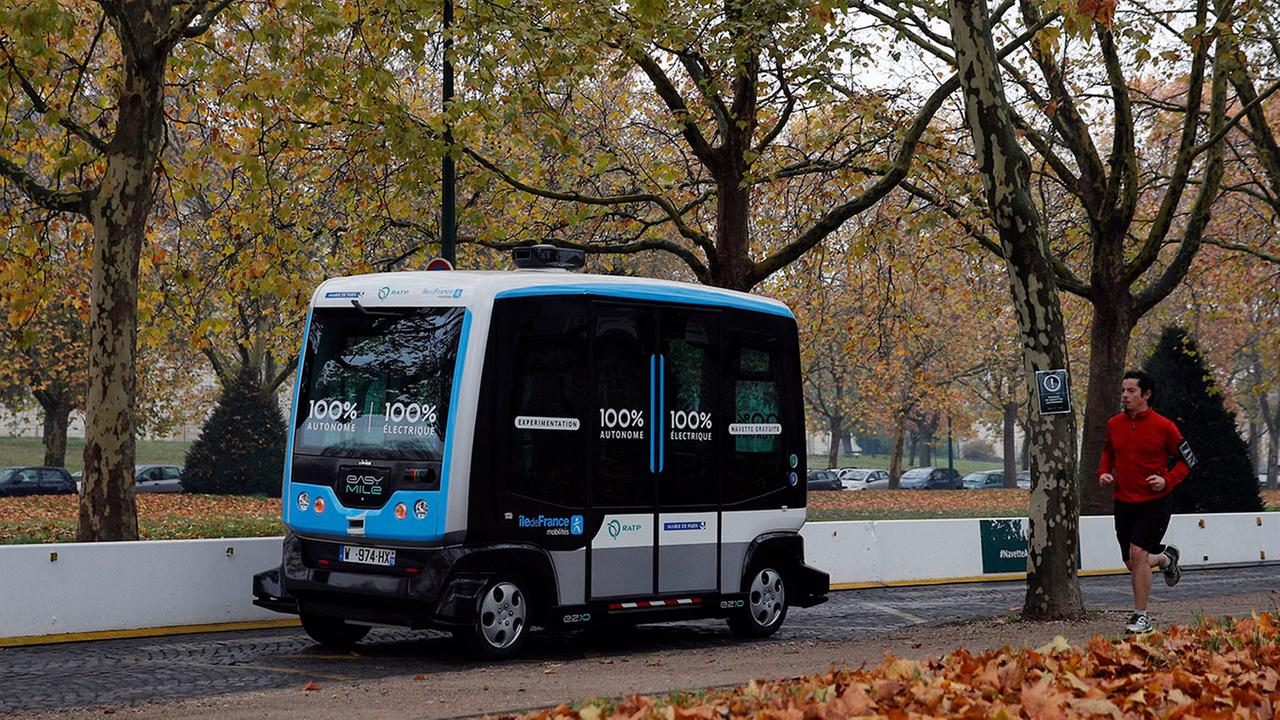 An autonomous bus is seen in this file photo. A similar-sized bus will be used in a METRO pilot program.
