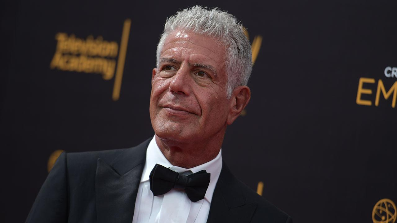 Anthony Bourdain arrives at night two of the Creative Arts Emmy Awards at the Microsoft Theater on Sunday, Sept. 11, 2016, in Los Angeles. (Photo by Richard Shotwell/Invision/AP)