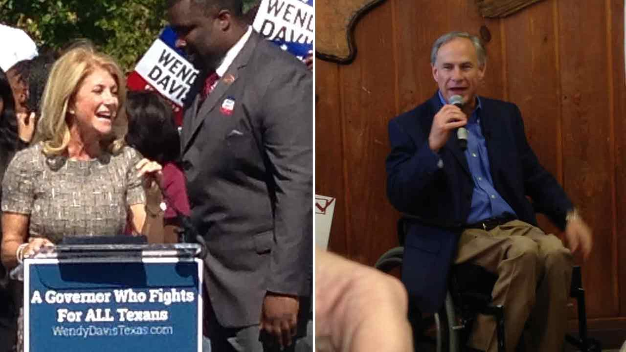 Wendy Davis visited Texas Southern University and talked to students and Greg Abbott made a stop at a BBQ restaurant in Conroe today.