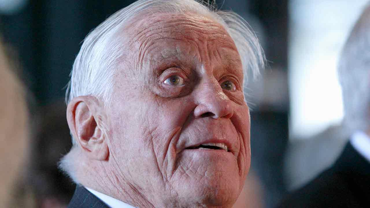 In this June 11, 2012 file photo, Ben Bradlee, former executive editor of The Washington Post, is at the Watergate office building in Washington.