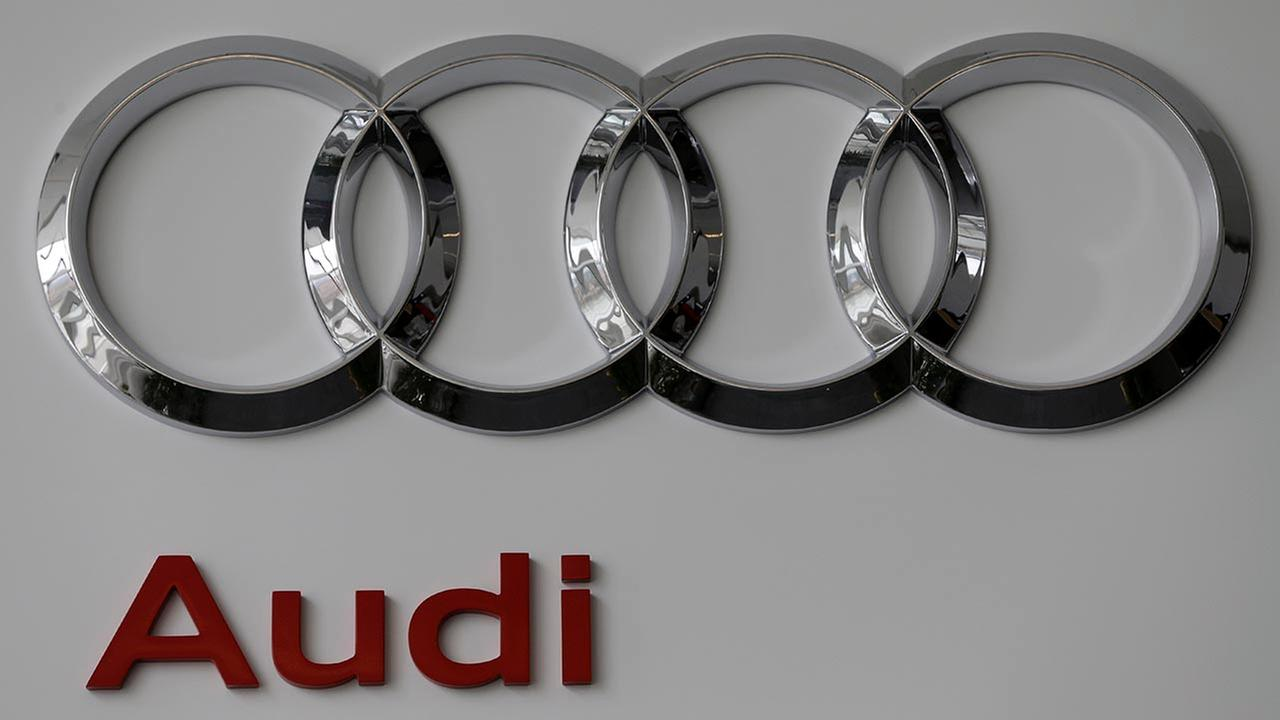 This photo taken Feb. 14, 2013 shows an Audi logo at the 2013 Pittsburgh Auto Show in Pittsburgh.