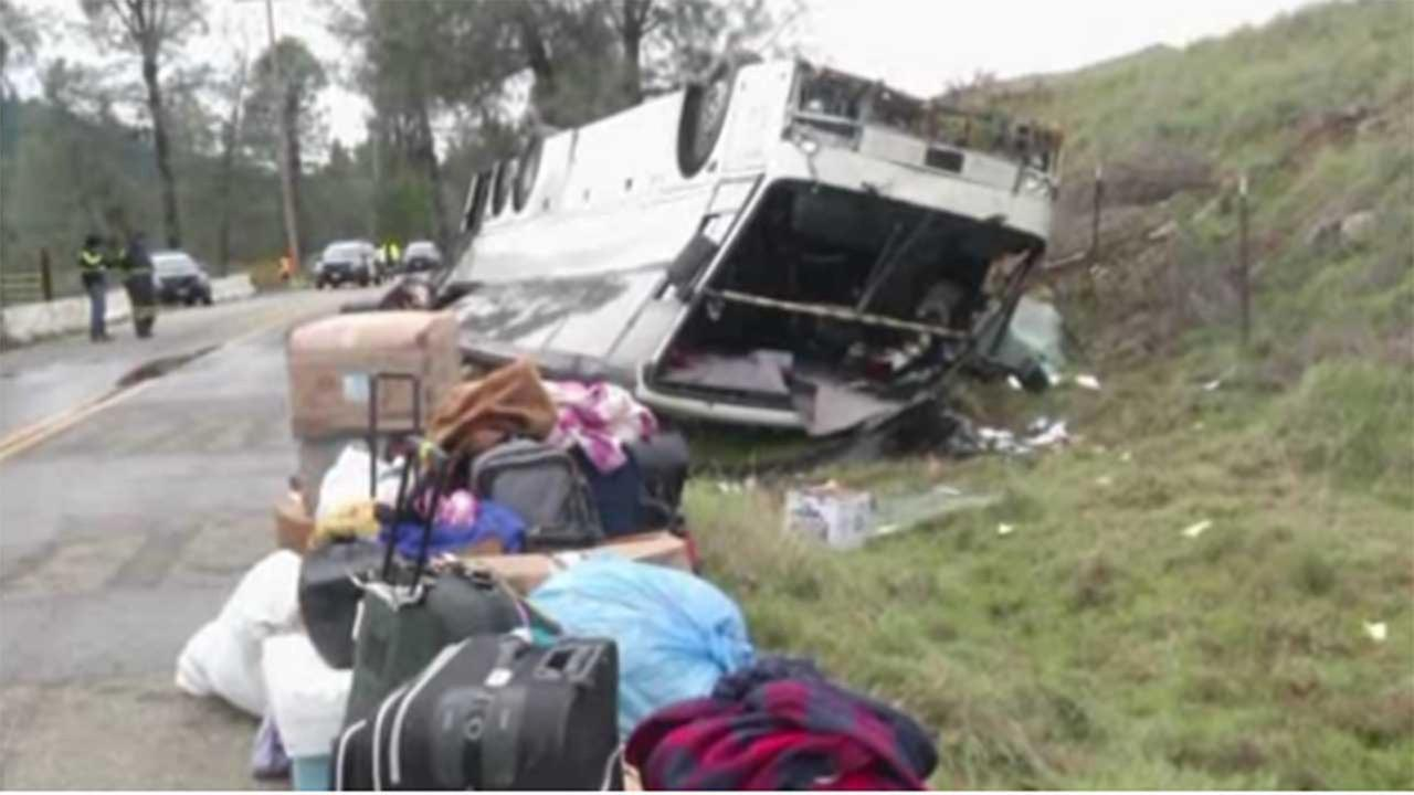 CHP says one person dead after bus rollover on Interstate 5