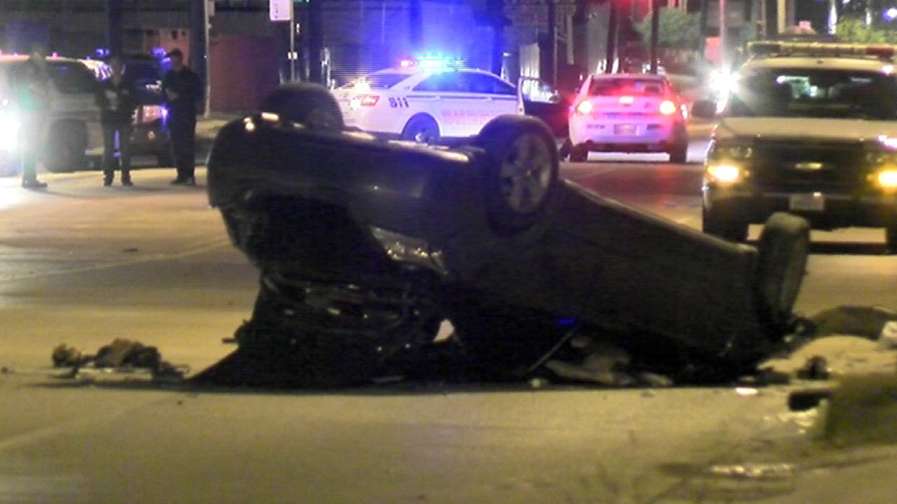 flipped over car