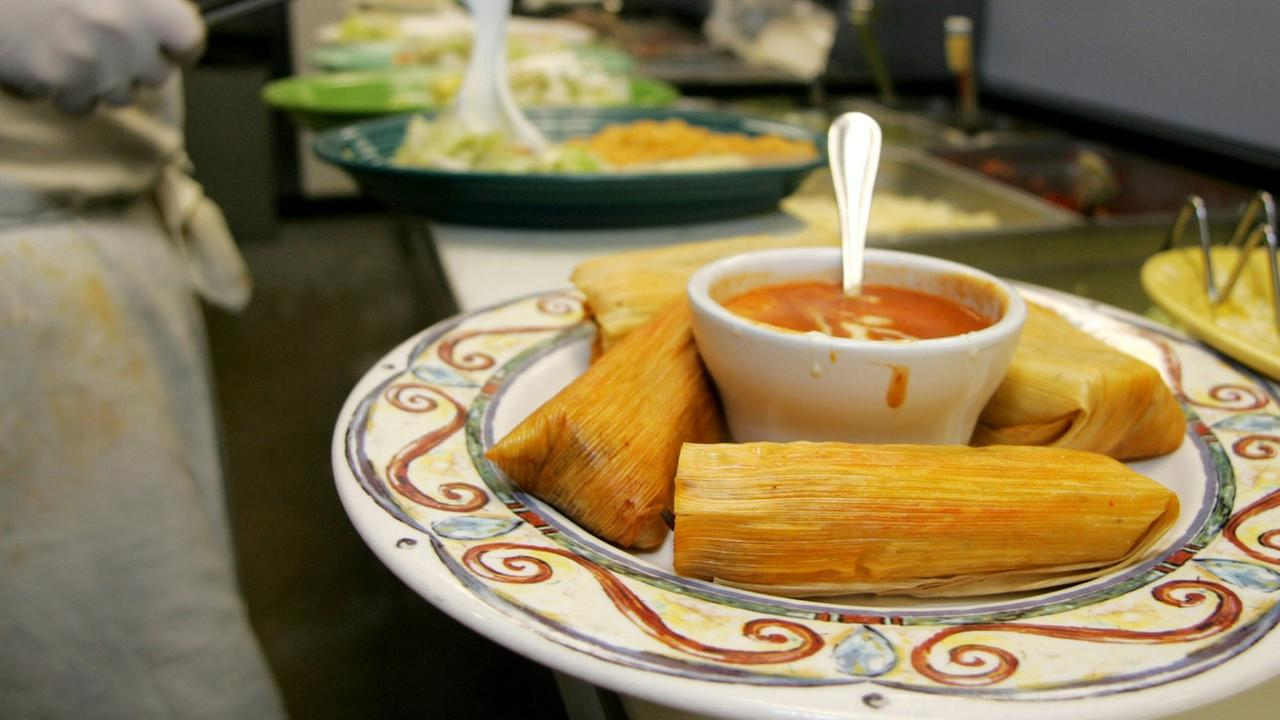 An order of tamales is seen at a restaurant