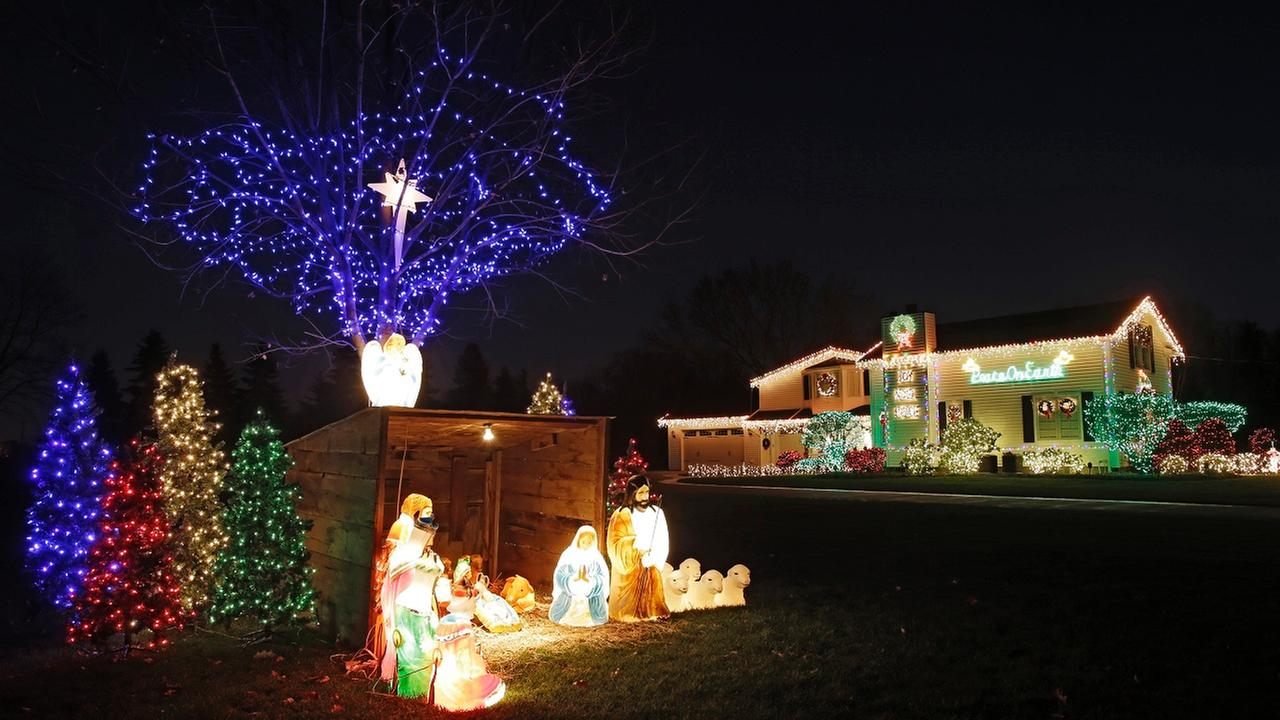 This photo shows the holiday lighting display at the home of Norm and Michele Rados in Olmsted Township, Ohio