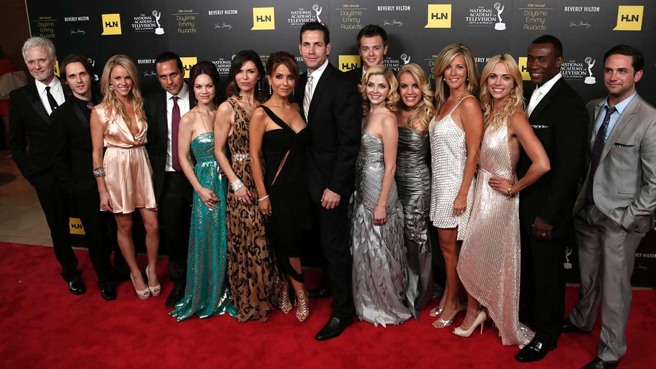 The cast and crew of General Hospital, winners of the award for drama series, pose backstage at the 39th Annual Daytime Emmy Awards at the Beverly Hilton Hotel