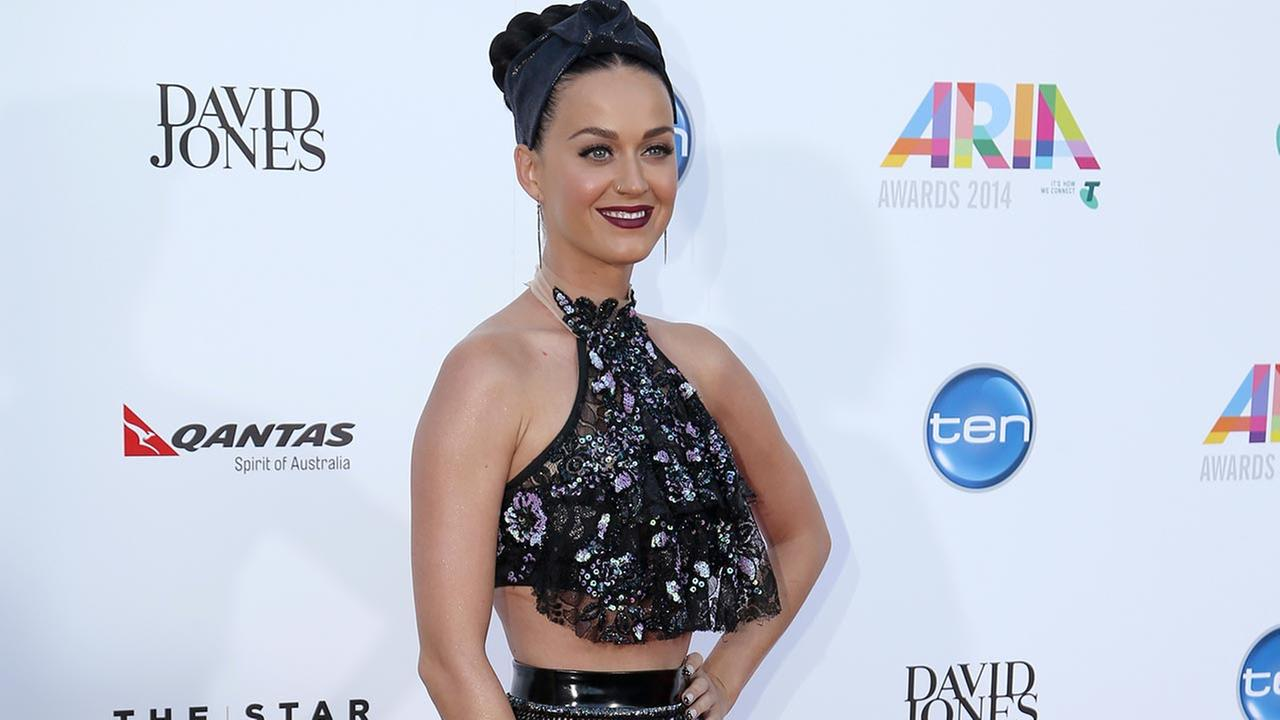 Pop star Katy Perry arrives for the Australian Recording Industry Association (ARIA) awards in Sydney, Wednesday, Nov. 26, 2014