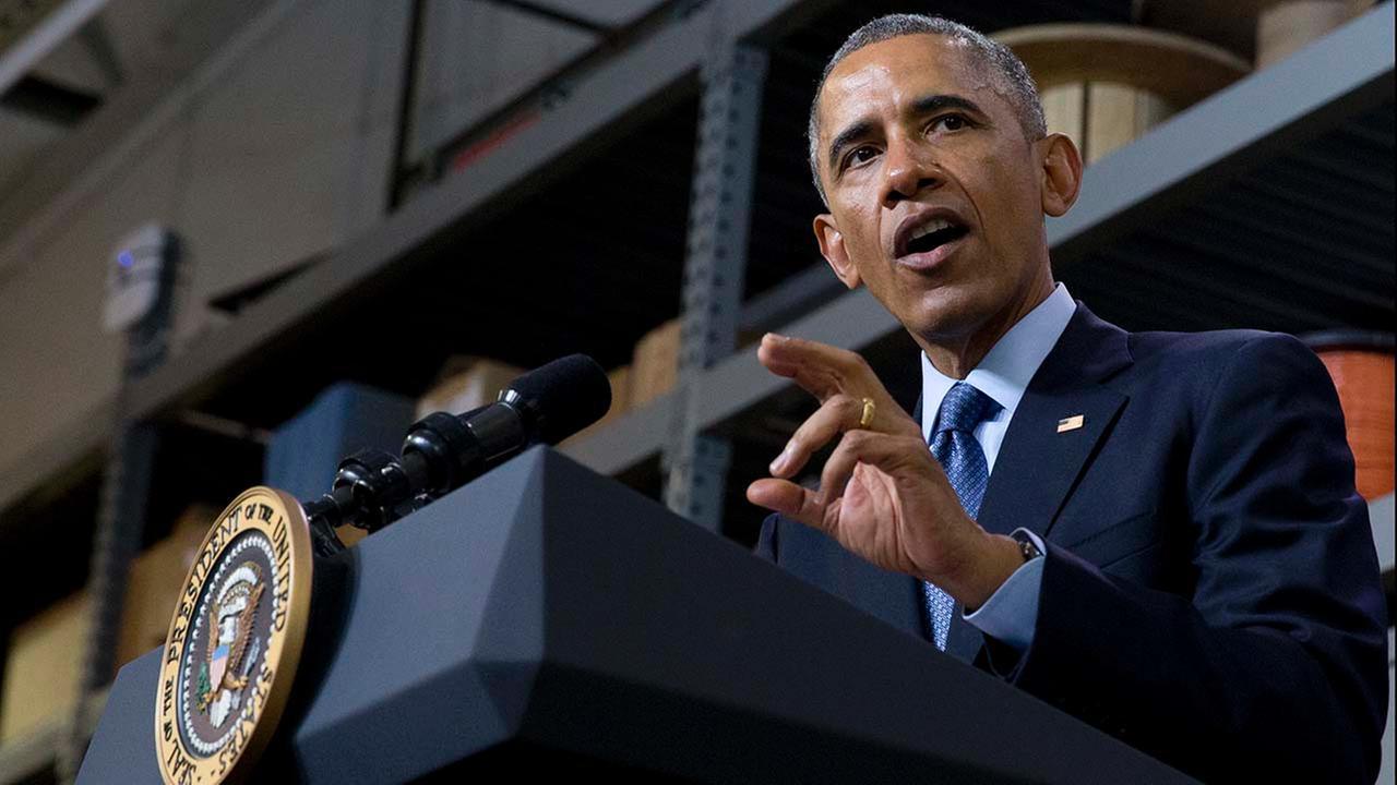 President Barack Obama speaks at Cedar Falls Utilities in Cedar Falls, Iowa, Wednesday, Jan. 14, 2015.