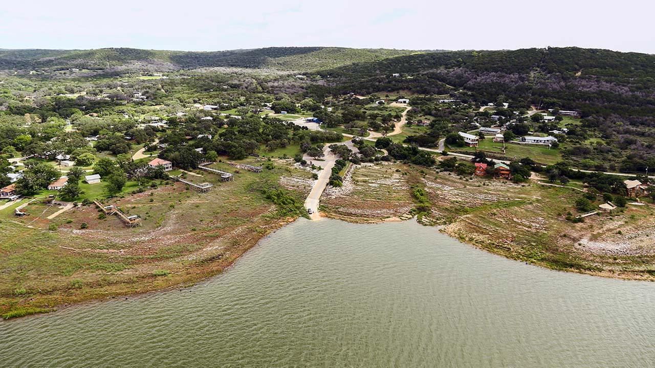 This June 4, 2014 aerial photograph provided by the Lower Colorado River Authority (LCRA) shows Lake Buchanan