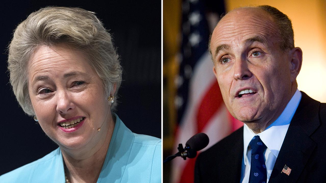 Houston Mayor Annise Parker and former New York City Mayor Rudy Giuliani