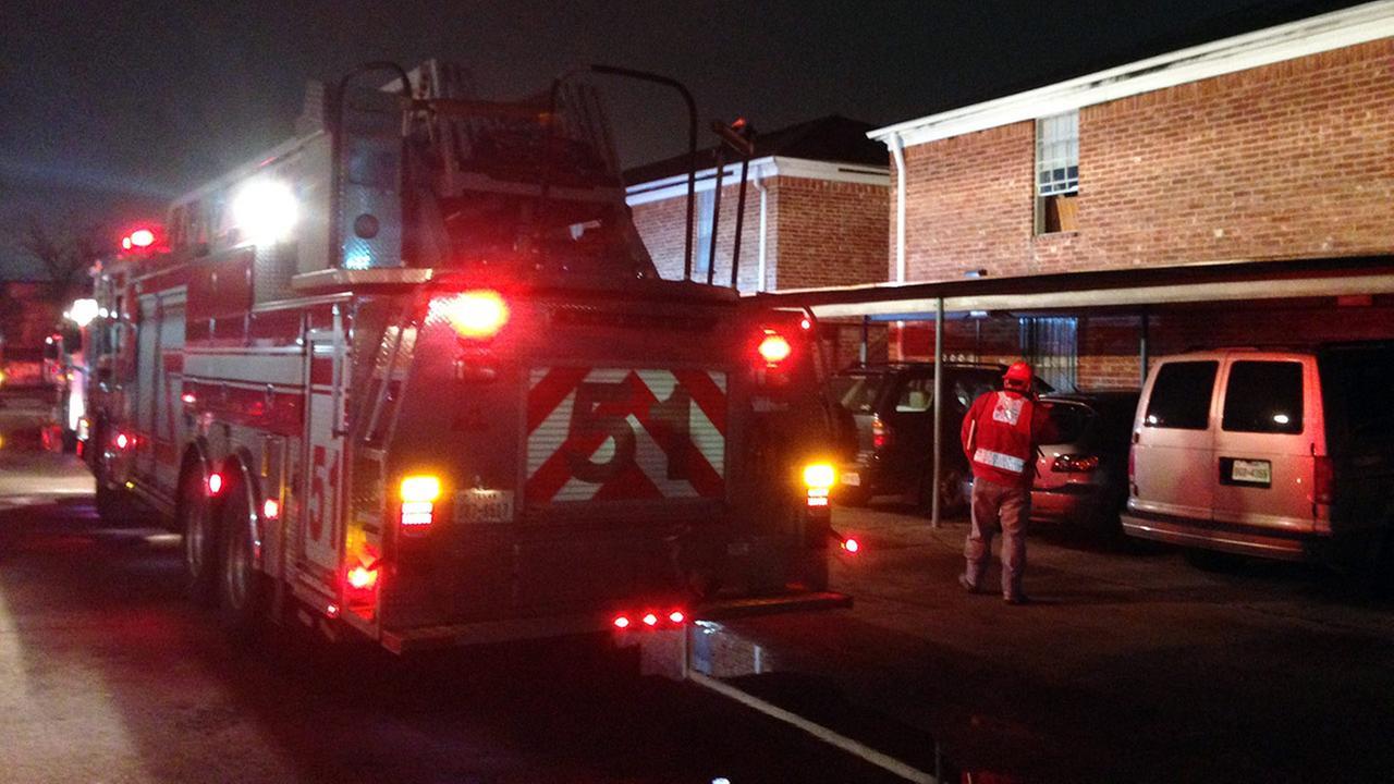 Fire truck at apartment complex