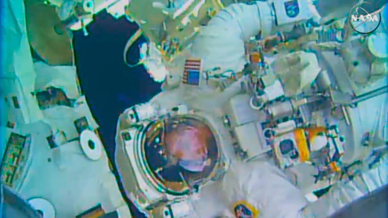 In this image made from video provided by NASA, astronaut Terry Virts performs a spacewalk outside the International Space Station on Wednesday, Feb. 25, 2015