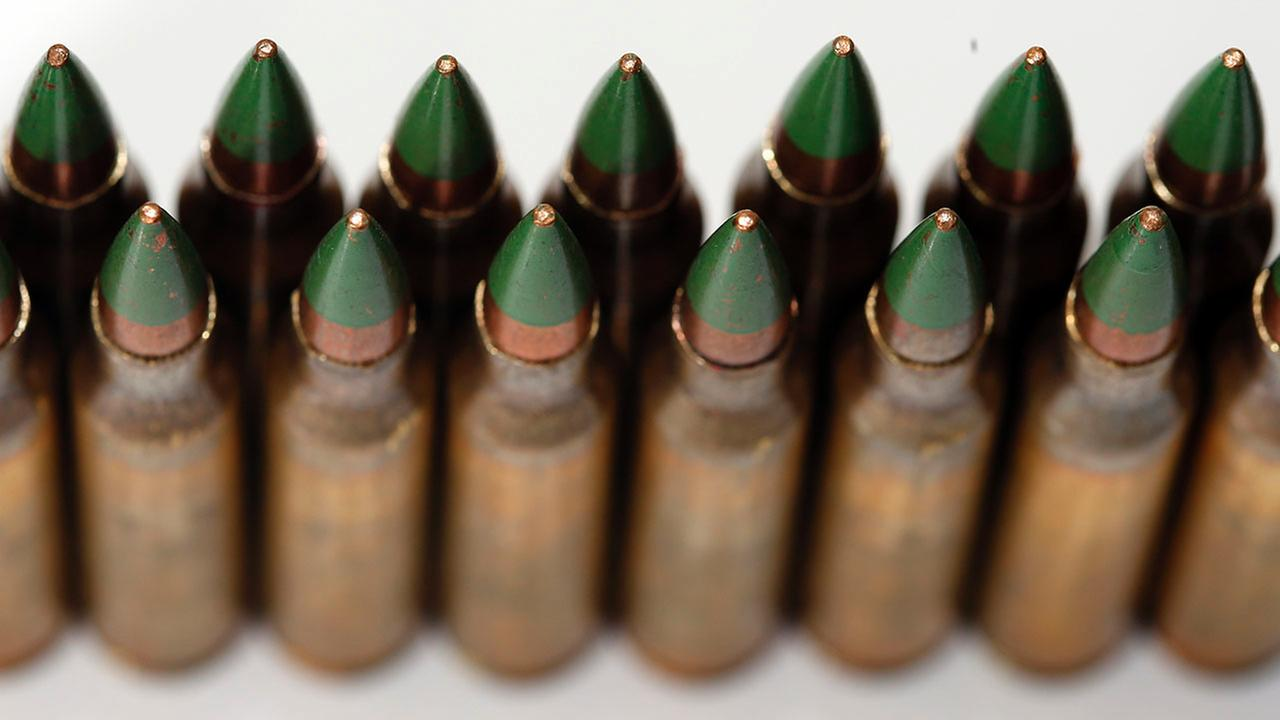 Green tip, M855 5.56mm ammunition is photographed Monday, March 2, 2015.