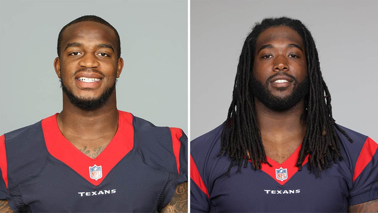 (LEFT) This is a photo of Kareem Jackson of the Houston Texans.  (RIGHT) This is a 2013 photo of Derek Newton of the Houston Texans.