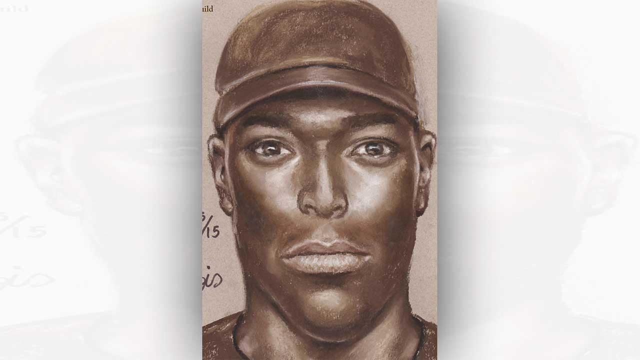 The suspect is described as a dark-skinned black male in his late 20s to early 30s. He has a slim face, is possibly tall, and was wearing a dark blue or black cap.