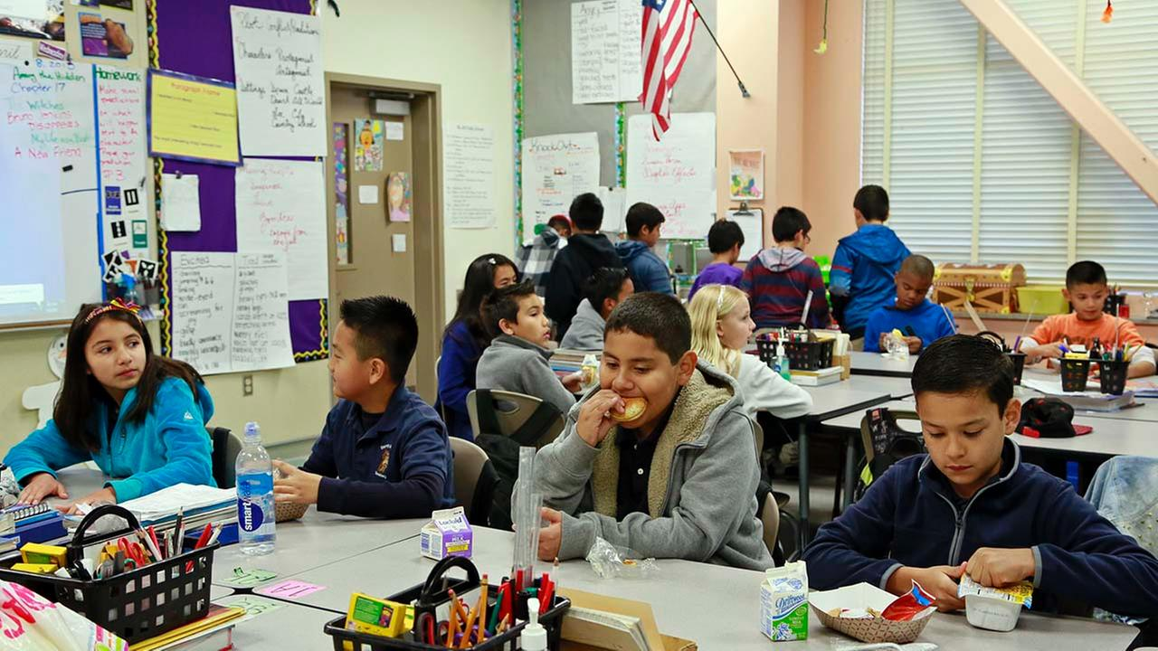 Students are served breakfast at the Stanley Mosk Elementary School in Los Angeles.