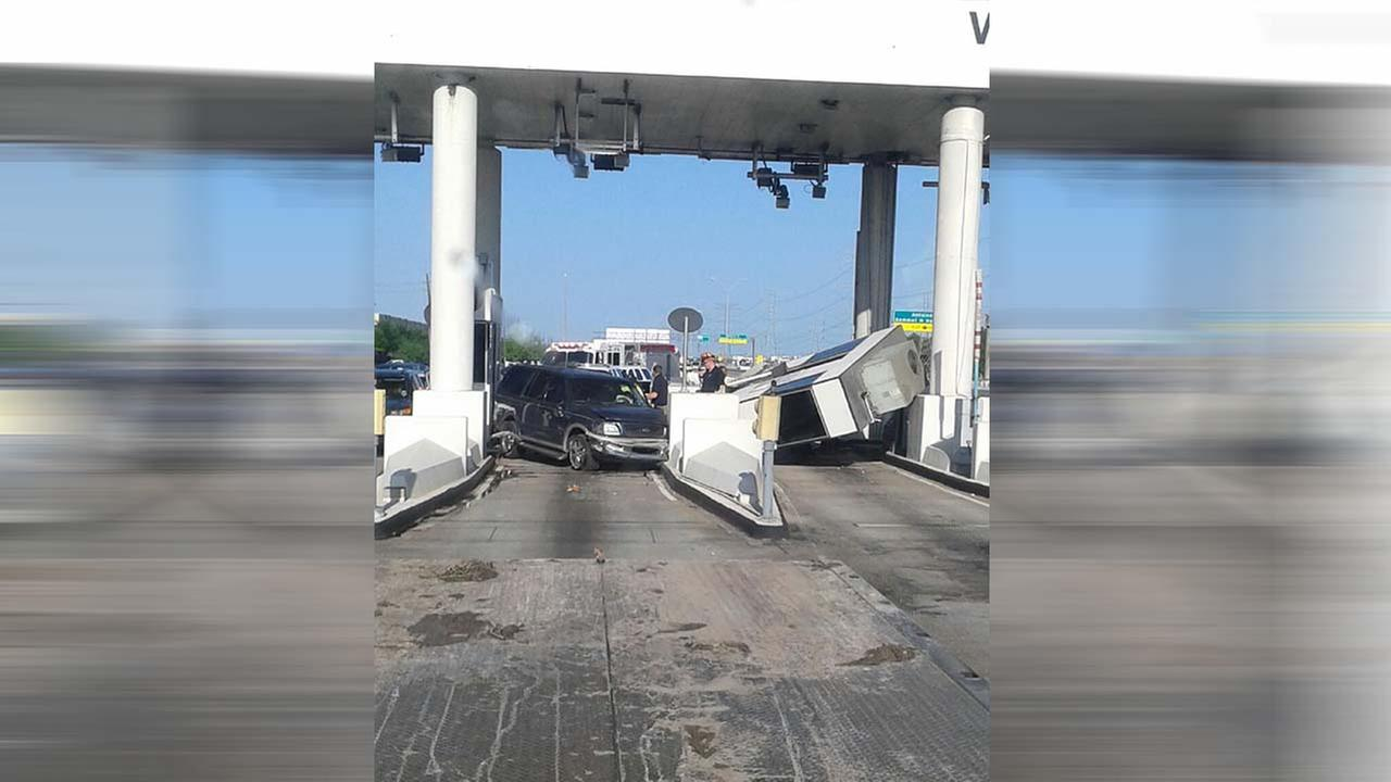 Toll booth crash