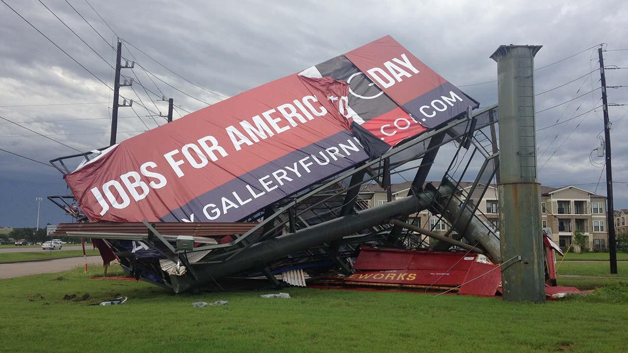 Billboard down amid severe storms in Houston