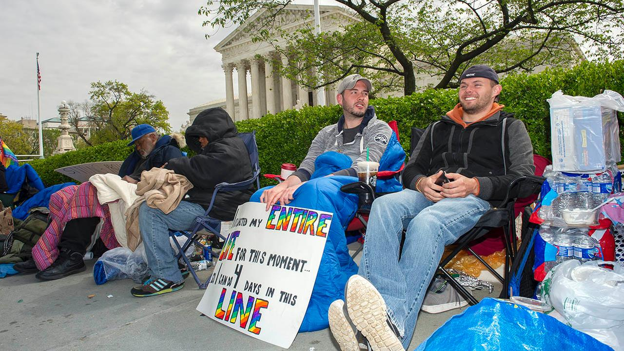 Sean Varsho, 28, of Chicago, left, and Brandon Dawson, 26, of Warrenton Va., have been waiting in line for the past three days for a seat for Tuesdays Supreme Court hearing.