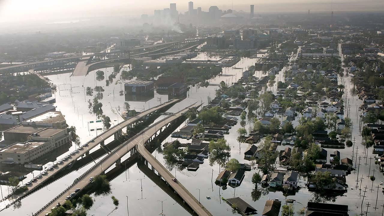 Floodwaters from Hurricane Katrina fill the streets near downtown New Orleans, La., on Aug. 30, 2005.