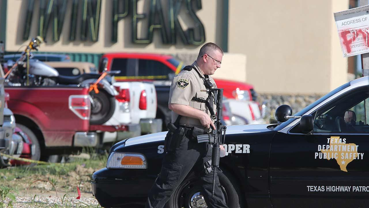 Authorities investigate biker gang shooting in the parking lot of the Twin Peaks restaurant  in Waco, Texas
