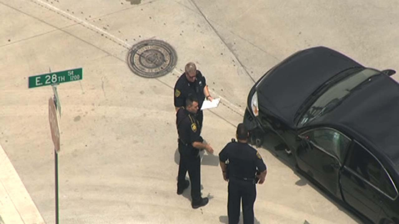 The vehicle police say was stolen with a woman inside in north Houston
