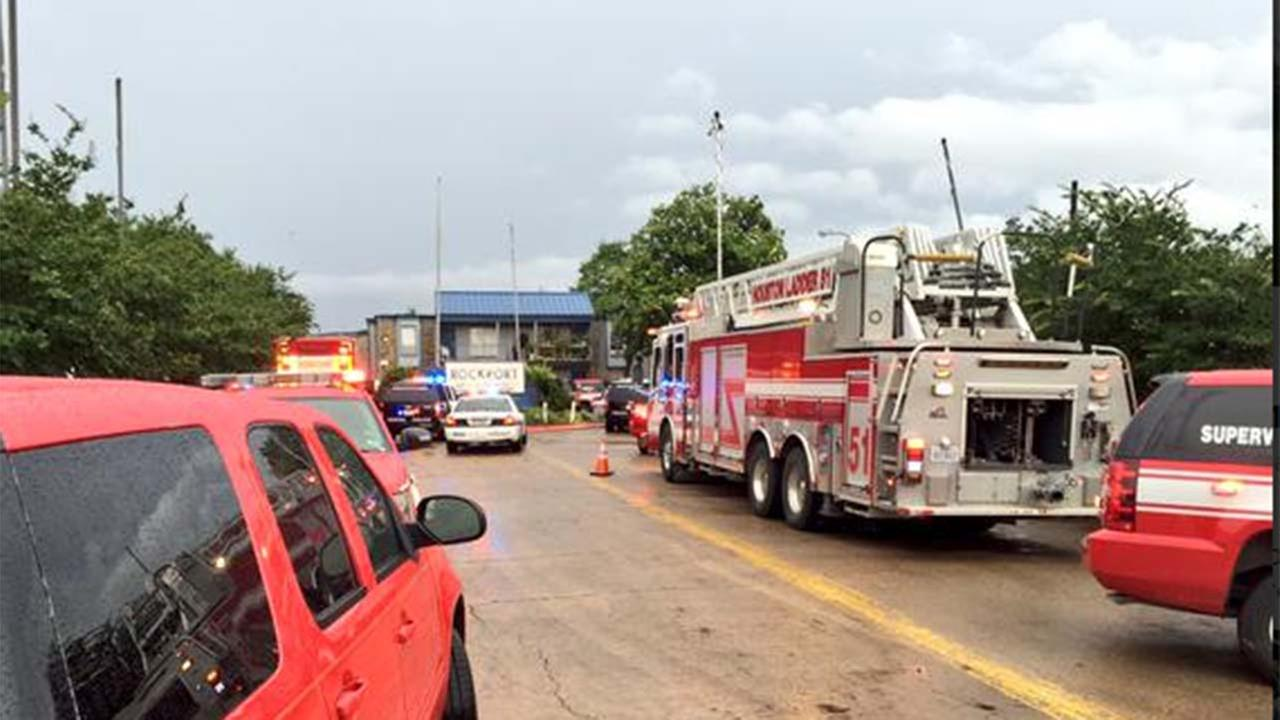 The scene of an apartment collapse in southwest Houston