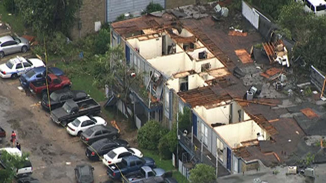 A view of the damage in southwest Houston after a possible tornado last night