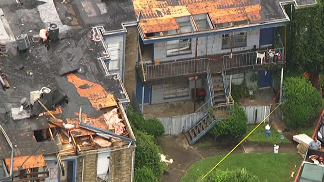 Damage done to this apartment building in southwest Houston is due to a tornado, the National Weather Service confirms.