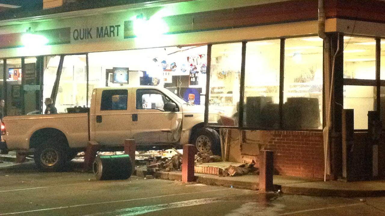 A truck seen in a Citgo gas station in northwest Houston after an apparent smash and grab robbery attempt.