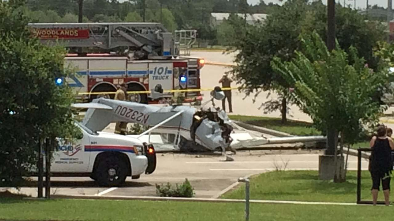 A viewer-submitted photo of a small plane crash in Shenandoah, TX