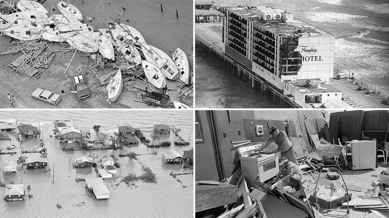 Photos showing damage from Hurricane Alicia