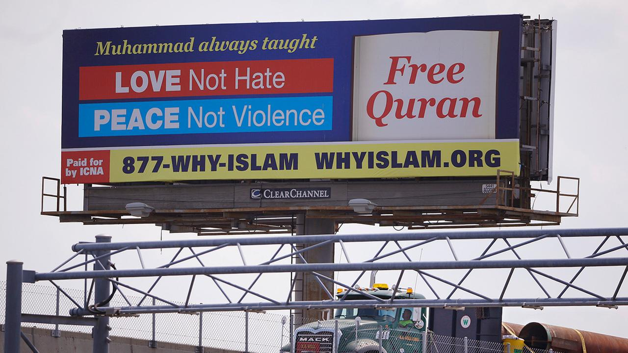 A billboard proclaims the teachings of Islam near the Massachusetts Avenue Exit of I-93 north in Boston