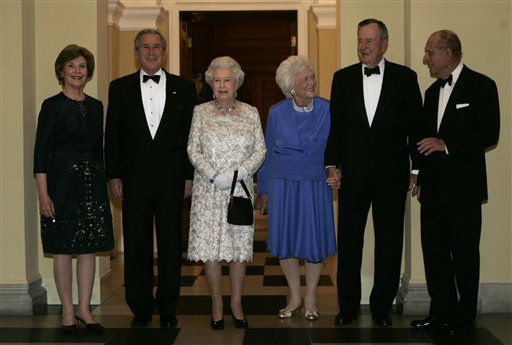 <div class='meta'><div class='origin-logo' data-origin='none'></div><span class='caption-text' data-credit='AP Photo/ Evan Vucci'>The Bush family and the royal family pose for photographs on May 8, 2007.</span></div>
