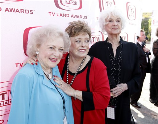 <div class='meta'><div class='origin-logo' data-origin='none'></div><span class='caption-text' data-credit='AP'>Betty White, left, Rue McClanahan, center, and Beatrice Arthur, of the Golden Girls, arrive at the TV Land Awards on Sunday June 8, 2008 in Santa Monica, Calif.</span></div>