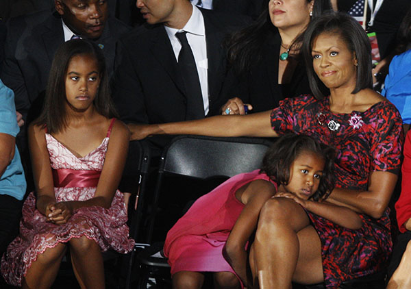 <div class='meta'><div class='origin-logo' data-origin='none'></div><span class='caption-text' data-credit='AP'>Michelle Obama, listens to her husband's acceptance speech with Malia, left, and Sasha,  at the Democratic National Convention in Denver, Aug. 28, 2008.  (AP Photo/Chris Carlson)</span></div>