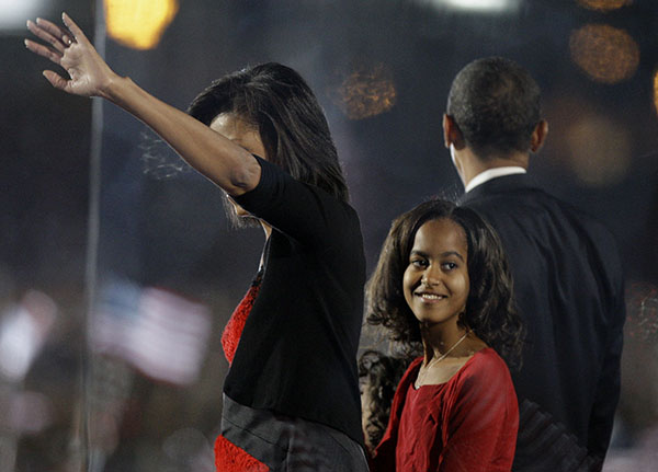 <div class='meta'><div class='origin-logo' data-origin='none'></div><span class='caption-text' data-credit='AP'>President-elect Barack Obama and daughter Malia, 10, wave to supporters during his election night party in Chicago, Tuesday night, Nov. 4, 2008. (AP Photo/M. Spencer Green)</span></div>