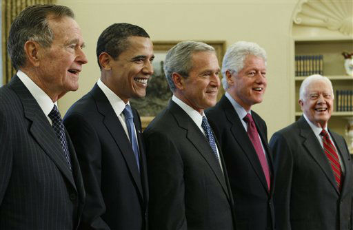 <div class='meta'><div class='origin-logo' data-origin='none'></div><span class='caption-text' data-credit='AP Photo/ J. Scott Applewhite'>President George W. Bush, poses with President-elect Barack Obama, and former presidents, from left, George H.W. Bush, Bill Clinton and Jimmy Carter, Wednesday, Jan. 7, 2009.</span></div>
