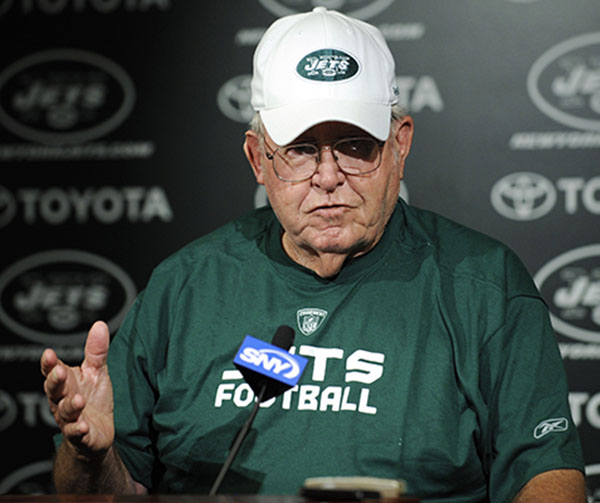 <div class='meta'><div class='origin-logo' data-origin='none'></div><span class='caption-text' data-credit='ASSOCIATED PRESS'>Buddy Ryan, father of New York Jets coach Rex Ryan, talks to the media  at Jets football minicamp, Tuesday, June 9, 2009 in Florham Park, N.J. (AP Photo/Bill Kostroun)</span></div>