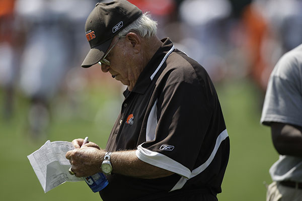 <div class='meta'><div class='origin-logo' data-origin='none'></div><span class='caption-text' data-credit='ASSOCIATED PRESS'>Buddy Ryan at the Cleveland Browns NFL football training camp Sunday, Aug. 2, 2009, in Berea, Ohio. (AP Photo/Tony Dejak)</span></div>